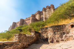 Turrets on the Mehrangarh Fort Stock Photography
