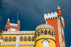 Turrets of the Romantic palace in Sintra. Stock Photos