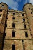 Turrets. A view of the towering internal wall surrounding the courtyard in Linlithgow palace Royalty Free Stock Photo