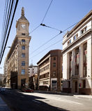 Turri building. Valparaiso, Chile-February 02, 2014:Street in Valparaiso in front of watch Turri building in the middle of the street, downtown of valparaiso in Stock Photos
