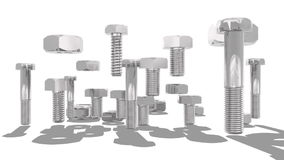 Turrning nuts and bolt set. Silver nuts and bolt kit. Camera turn around objects. Service and repair relative animation stock video