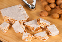 Turron and almonds Royalty Free Stock Photos