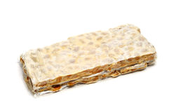 Turron de Alicante, typical sweet of Spain. A bar of turron de Alicante, typical Christmas sweet of Spain Royalty Free Stock Image