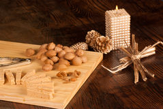 Turron and ingredients Royalty Free Stock Photography