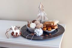Turron, mantecados och polvorones, typiska spanska julsötsaker Fotografering för Bildbyråer