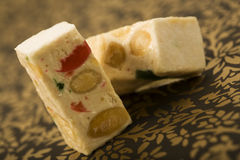 Turron nougat blocks with candied fruit Royalty Free Stock Image