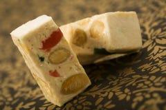 Turron nougat blocks with candied fruit Royalty Free Stock Image