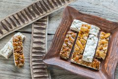 Turron slices on the plate Stock Image