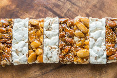 Turron slices on the wooden board Royalty Free Stock Image