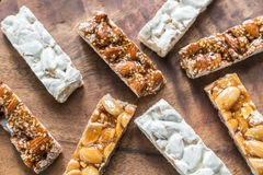 Turron slices on the wooden board Stock Image