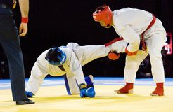 Tursunov S. (Red) and Sagyn K. (Blue) fight Stock Images