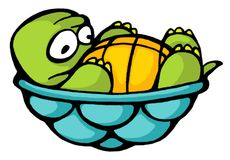 Turtle 01. Funny cartoon style baby turtle Stock Photo