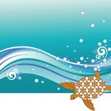 Turtle. With patterned shell  - waves and bubbles -  copyspace at the bottom Stock Photography