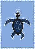 Turtle. A illustration based on aboriginal style of dot painting depicting turtle in blue sea Royalty Free Stock Photos