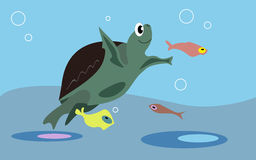 Turtle. Smiling turtle and colorful fishes in the ocean Vector Illustration