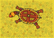 Turtle. Multicolored turtle in ethnic Australian pattern style