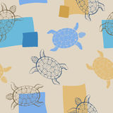 Turtle animal graphic art blue beige seamless pattern illustration Stock Photography