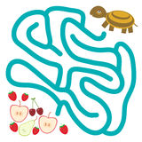 Turtle and the apple pear strawberry cherry on white background  labyrinth game for Preschool Children. Vector Royalty Free Stock Photos