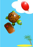 Turtle with a balloon Stock Photography
