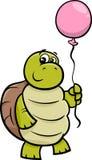 Turtle with balloon cartoon illustration Stock Photography