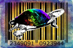 Turtle barcode animal design art idea. I am a traditional artist. This is digital painting and 3d software compilation. This is my own idea Royalty Free Stock Image