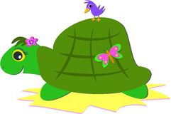 Turtle with a Bird and a Butterfly Royalty Free Stock Photo