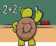 Turtle at blackboard cartoon illustration Stock Photos