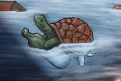 Turtle with bottle drawed Royalty Free Stock Photography