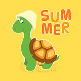 Turtle bucket hat. Vector colorful illustration in childish style. Cartoon cute little turtle in a creamy bucket hat standing, looking friendly and smiling Royalty Free Stock Images
