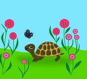 Turtle and Butterfly. A turtle looking up at a butterfly Stock Photography