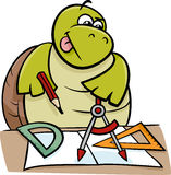 Turtle with calipers cartoon illustration Stock Photo