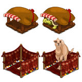 Turtle and camel in cozy house for animals stock illustration