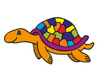 Turtle, cartoon, character, isolated. Coloring Royalty Free Stock Photo