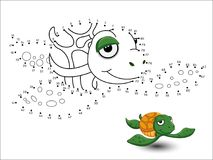 Turtle Cartoon Connect the dots and color. Vector royalty free illustration