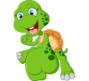 Turtle cartoon giving punch Royalty Free Stock Images