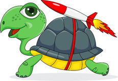 Turtle cartoon with rocket Stock Photo
