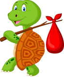 Turtle cartoon traveling Royalty Free Stock Photos