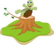 Turtle cartoon on tree stump Stock Images