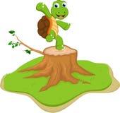 Turtle cartoon on tree stump Royalty Free Stock Photography
