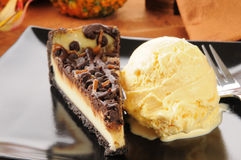 Turtle cheesecake and ice cream Royalty Free Stock Photo