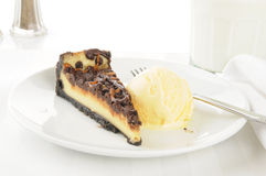 Turtle cheesecake with ice cream Royalty Free Stock Photos