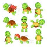 Turtle child. Running fast tortoise. Green kids turtles cartoon characters isolated vector illustration set stock illustration