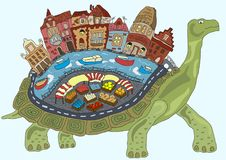 Free Turtle City On The Back Of A Fairy Tale Stock Images - 102404534