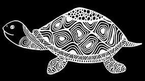 Turtle coloring book for adults illustration. Anti-stress coloring for adult. Zentangle style. Black and white lines, hand drawing stock illustration