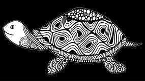 Turtle coloring book for adults illustration. Anti-stress coloring for adult. Zentangle style. Black and white lines, hand drawing royalty free illustration
