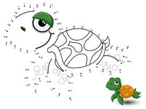 Turtle Connect the dots and color. Vector Royalty Free Stock Photos