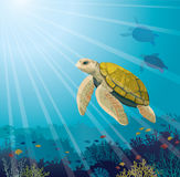 Turtle, coral reef, fishes and underwater sea. Cute yellow turtle and coral reef with fishes on a blue sea. Underwater marine life. Vector illustration Royalty Free Stock Images