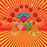 Turtle couple. Colored background with turtle couple, colored hearts, butterflies, dragonflies and burning fire Royalty Free Stock Images