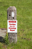 Turtle Crossing Caution Sign royalty free stock images