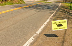 Turtle crossing warning sign Royalty Free Stock Photo